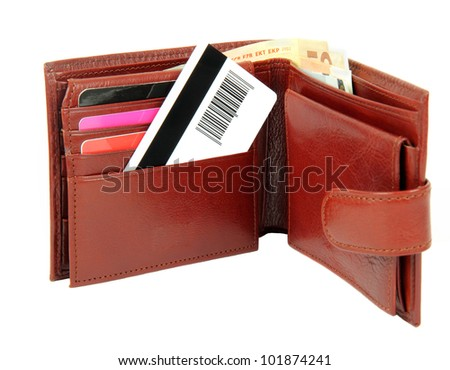 Credit card in wallet isolated on white background