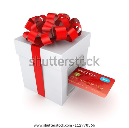 Credit card inserted in a gift box.Isolated on white background.3d rendered.