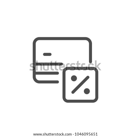 Credit card interest rate line icon isolated on white