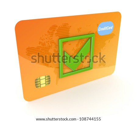 Credit card.Isolated on white background.3d rendered.