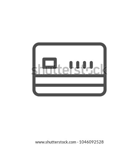 Credit card line icon isolated on white