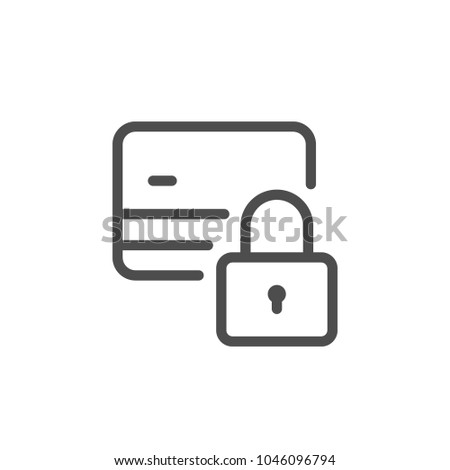 Credit card locking line icon isolated on white
