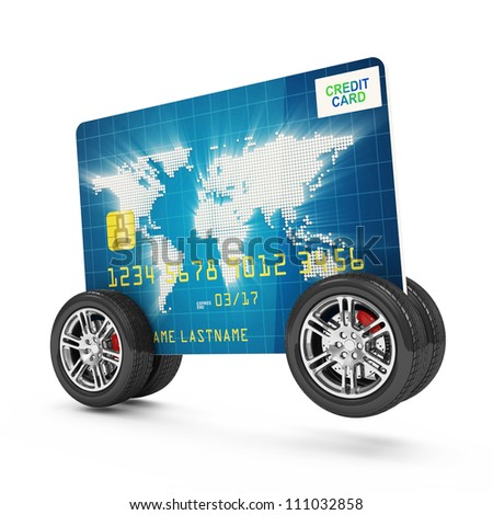 Credit Card on Wheels isolated on white background