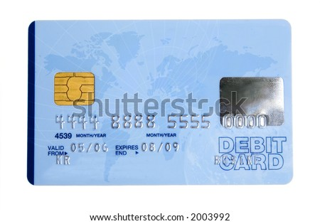 credit card over a white background - note the design of the card is my own and the numbers on the card are made up