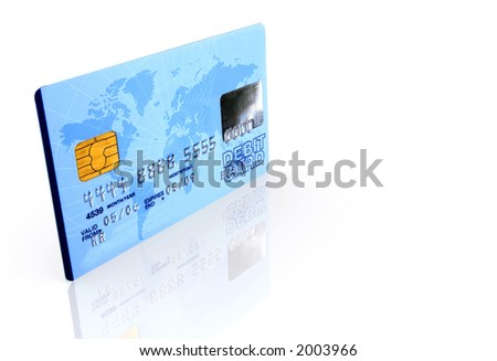 credit card over a white background with reflection - note the design of the card is my own and the numbers on the card are made up