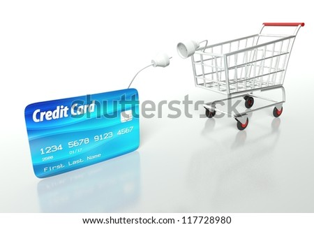 Credit card payment with shopping cart, concept