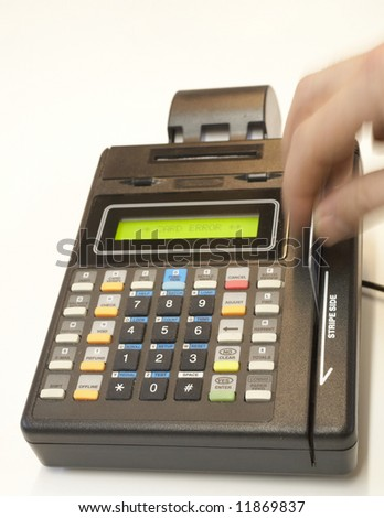 Credit card point of sale terminal swipe