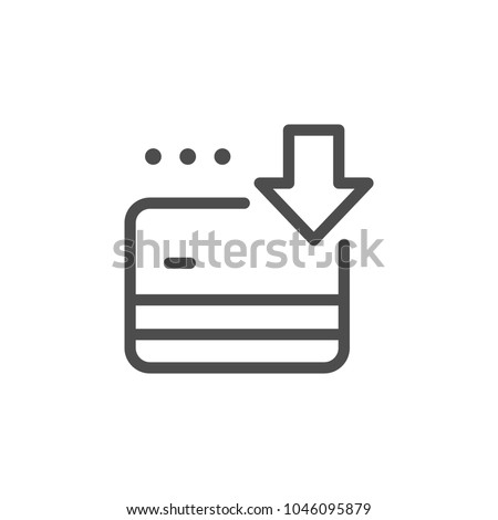 Credit card replenishment line icon isolated on white
