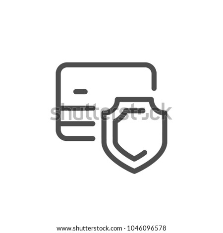 Credit card security line icon isolated on white