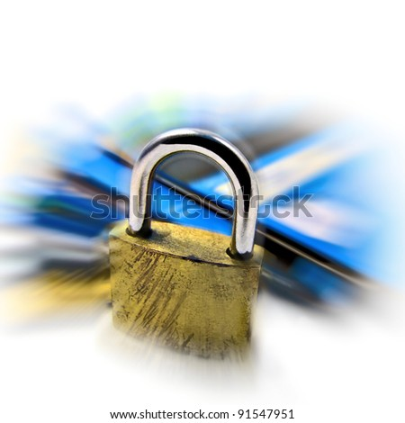 Credit card security safety - pin and password - Grunge and zoom effect