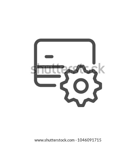 Credit card setting line icon isolated on white