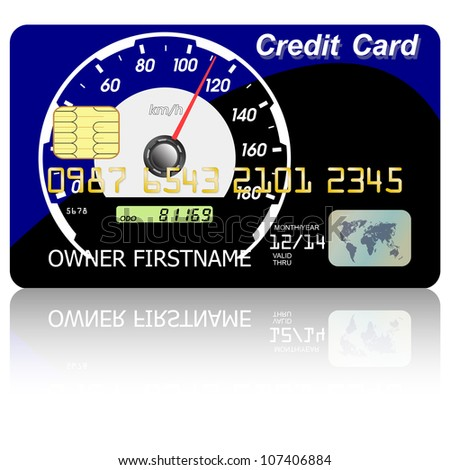 Credit card  speedometer with shadow over white background.  illustration