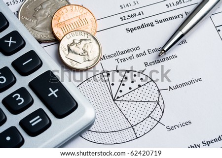 Credit card spending summary, calculator, coins and pen. Concept of finance.