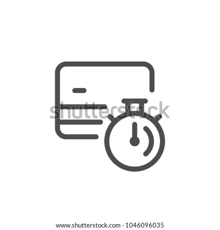 Credit card transaction time line icon isolated on white