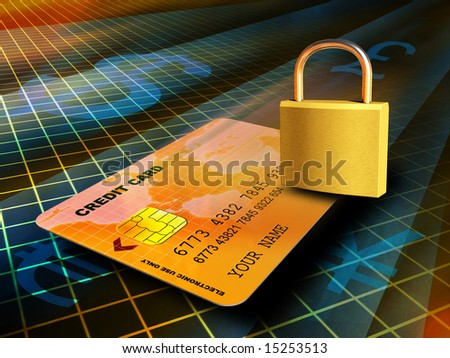 Credit card traveling through a secure connection. Digital illustration
