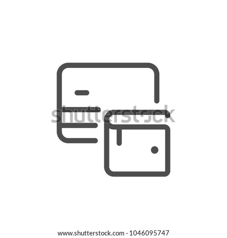 Credit card wallet line icon isolated on white