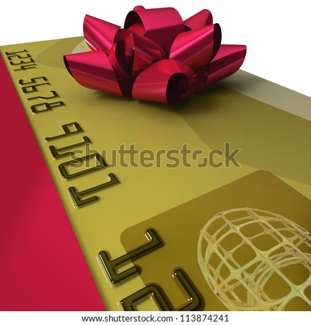 Credit card with a gift ribbon as present on white background in extreme close up