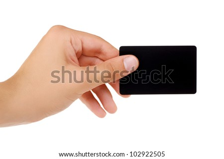 Credit card with empty space hand holding. Isolated on white background