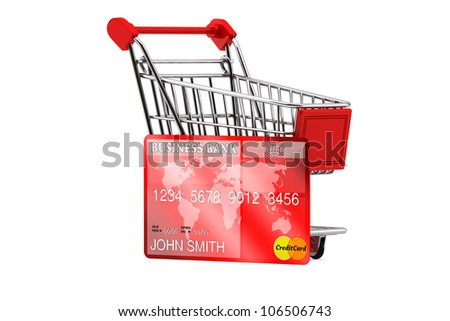 Credit card with Shopping Cart on a white background