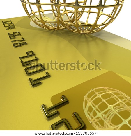 Credit card with two golden globes on white background in extreme close up