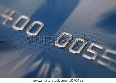 credit card with zoom effect numbers are faked