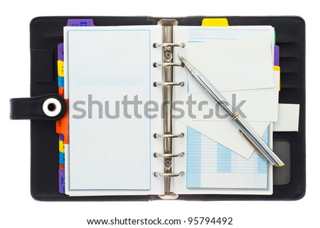 Credit cards and personal organizer with pen