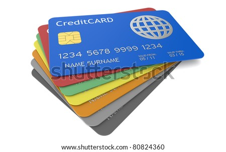 Credit Cards. Credit Cards in different colors