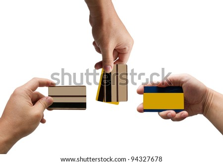 credit cards in hand isolated on white background