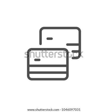 Credit cards line icon isolated on white