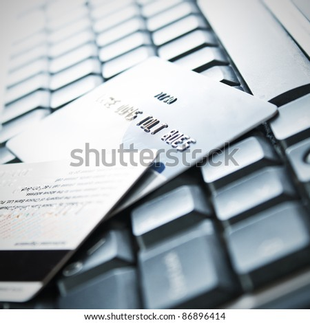 Credit cards on the keyboard,close up photo