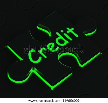 Credit Glowing Puzzle Showing Shopping, Buying And Financing