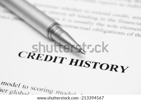 Credit History. Ballpoint pen on Credit History (Credit Report).  Black and White.