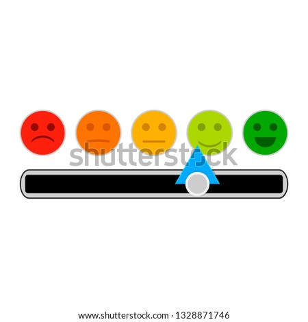 Credit mood indicator with smile face. minimum and maximum loan, indebtedness information illustration