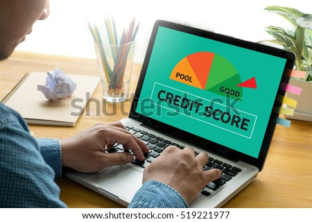 CREDIT SCORE  (Businessman Checking Credit Score Online and Financial payment Rating Budget Money) #519221977