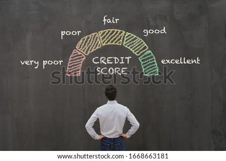 credit score concept, poor or excellent, loan in bank Stock photo ©