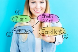 Credit Score concept with young woman on blue background