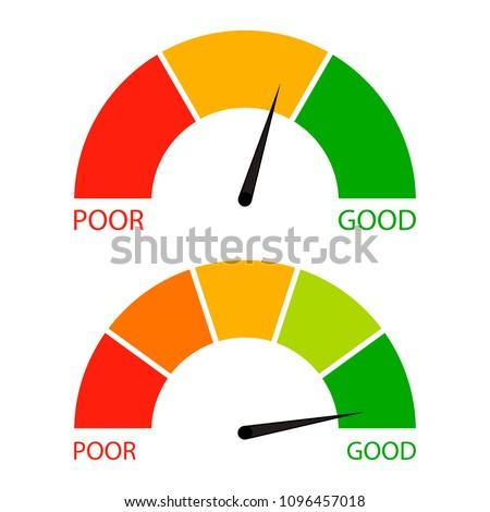 Credit score indicator set. Pointer needle and spectrum level, financial indicator rating illustration