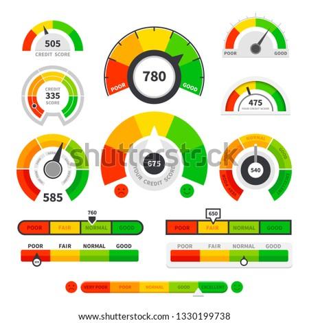 Credit score indicators. Speedometer goods gauge rating meter. Level indicator, credit loan scoring manometers set