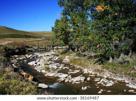 Creek/stream, running through hills; colourful trees, shrubs; Porcupine Hills, western Alberta, Canada