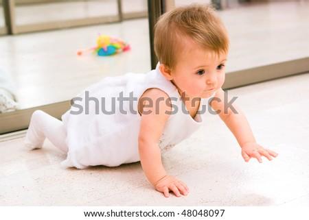 Creeping baby girl