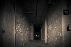 Creepy abandoned asylum with a lot of vandalism and graffiti a forgotten hospital clinic a decayed lost place