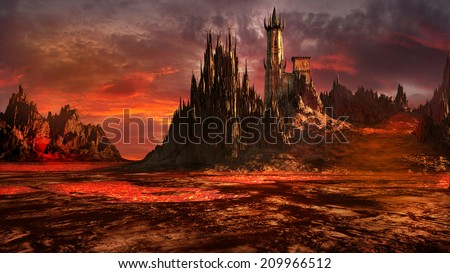 Creepy castle in the middle of a lava field