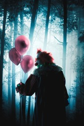 creepy clown with balloons in a forest
