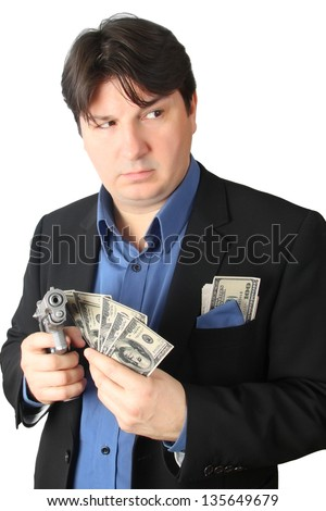 Creepy Criminal man holding a lot of money and a handgun