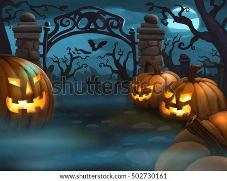 Creepy Halloween Scene - Digital Illustration #502730161