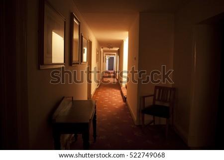 creepy old hotel in ireland corridor #522749068