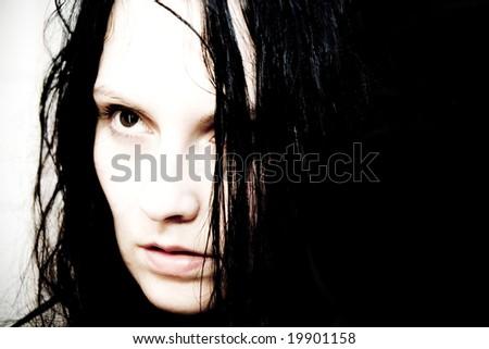 creepy portrait of gothic girl