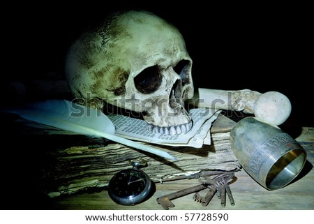 Creepy skull and bone on antique book