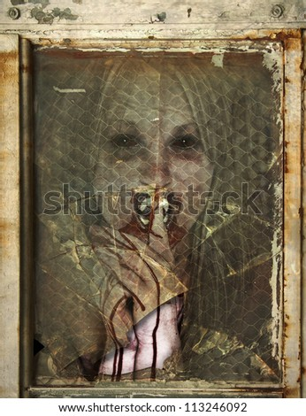 Creepy Vampire like Woman with bloody hands and mouth behind a rusted broken window