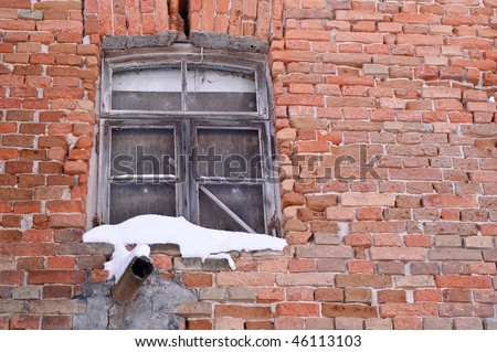 Creepy Window in Abandoned, Run-down House - stock photo